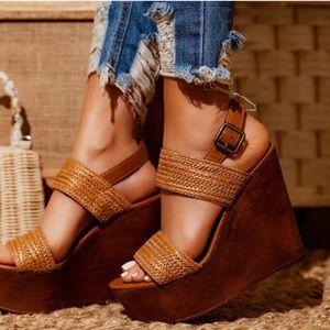 Shoes - Woven Tan Platform Wedges